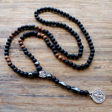 New Design black 6MM stone bead with wood bead Men's pendants Necklace Fashion Jewelry