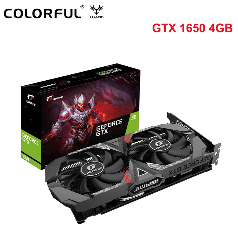 Original Colorful IGame GeForce GTX 1650 Ultra 4G Video Graphics Card NVIDIA 128Bit Gaming Map GDDR5 4GB W/ DP HDMI DVI Dual Fan