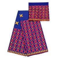 Ricamo bazin riche getzner brode tessuto 5 metri + 2 metri di tessuto del merletto francese africano materiali per le donne del partito del vestito headtie