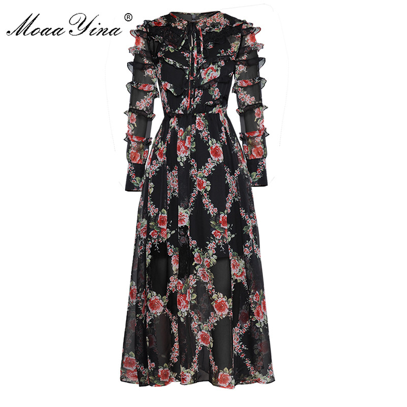 MoaaYina Fashion Designer Runway Dress Spring Women's Long sleeve Floral-Print Lace Cascading Ruffle Vintage Dresses High Qualit