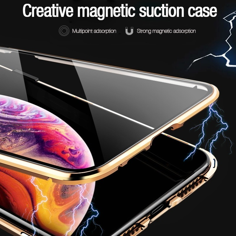 Tongdaytech Magnetic Tempered Glass Privacy Metal Phone Case Coque 360 Magnet Antispy Cover For Iphone XR XS X 11 Pro MAX 8 7 6 3
