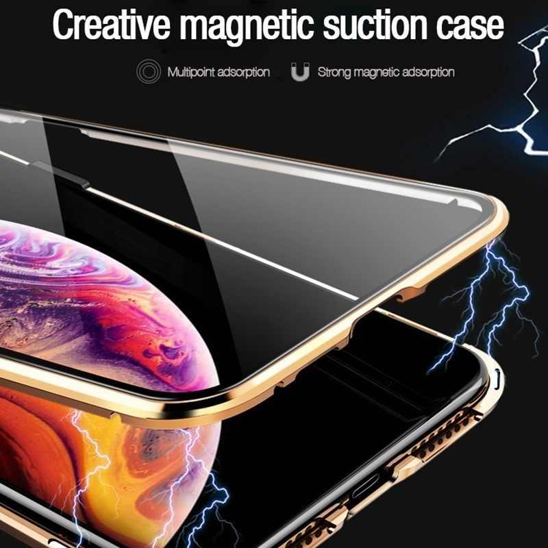Tongdaytech магнитный металлический чехол для телефона из закаленного стекла 360 магнит антишпионский защитный чехол для Iphone XR XS X 11Pro MAX 8 7 6 Plus