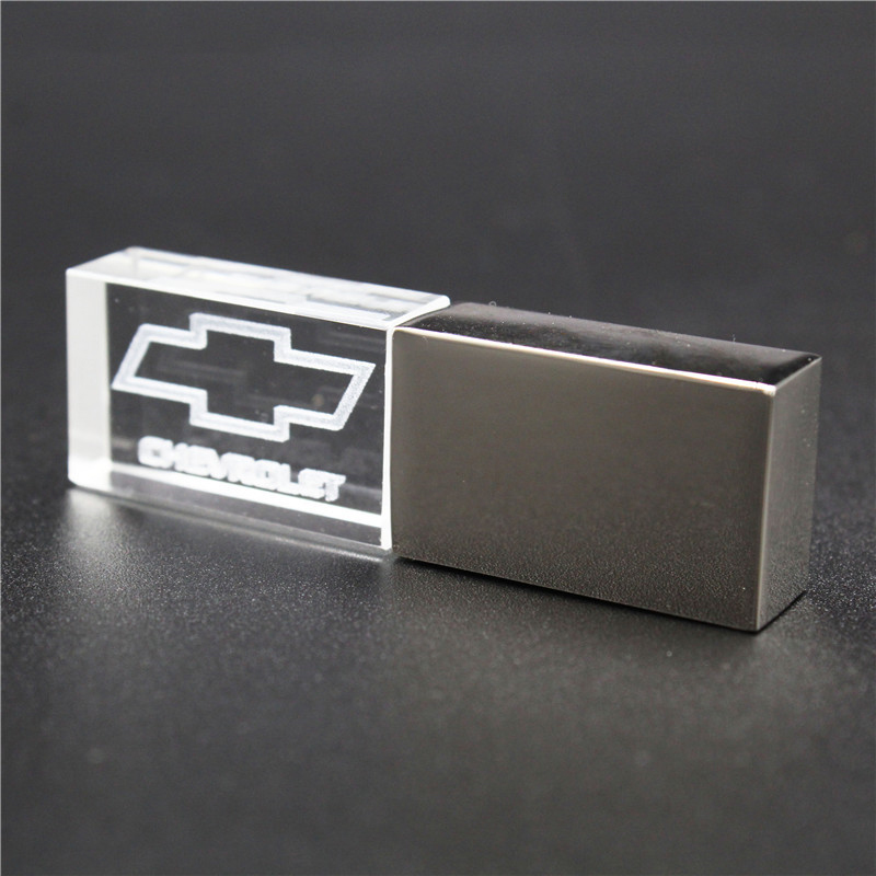 64GB Usb2.0 Metal Crystal Chevrolet Car Key Model USB Flash Drive 4GB 8GB 16GB 32GB Precious Stone Pen Drive Special Gift