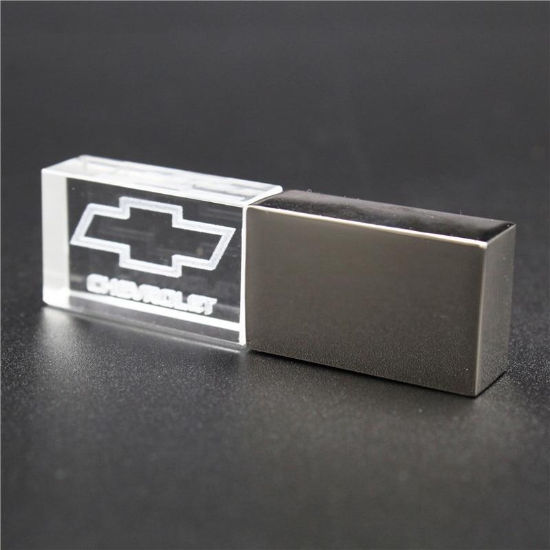 64GB Usb2.0 Metal Crystal Chevrolet Car Key Model USB Flash Drive 4GB 8GB 16GB 32GB Precious Stone Pen Drive Special Gift