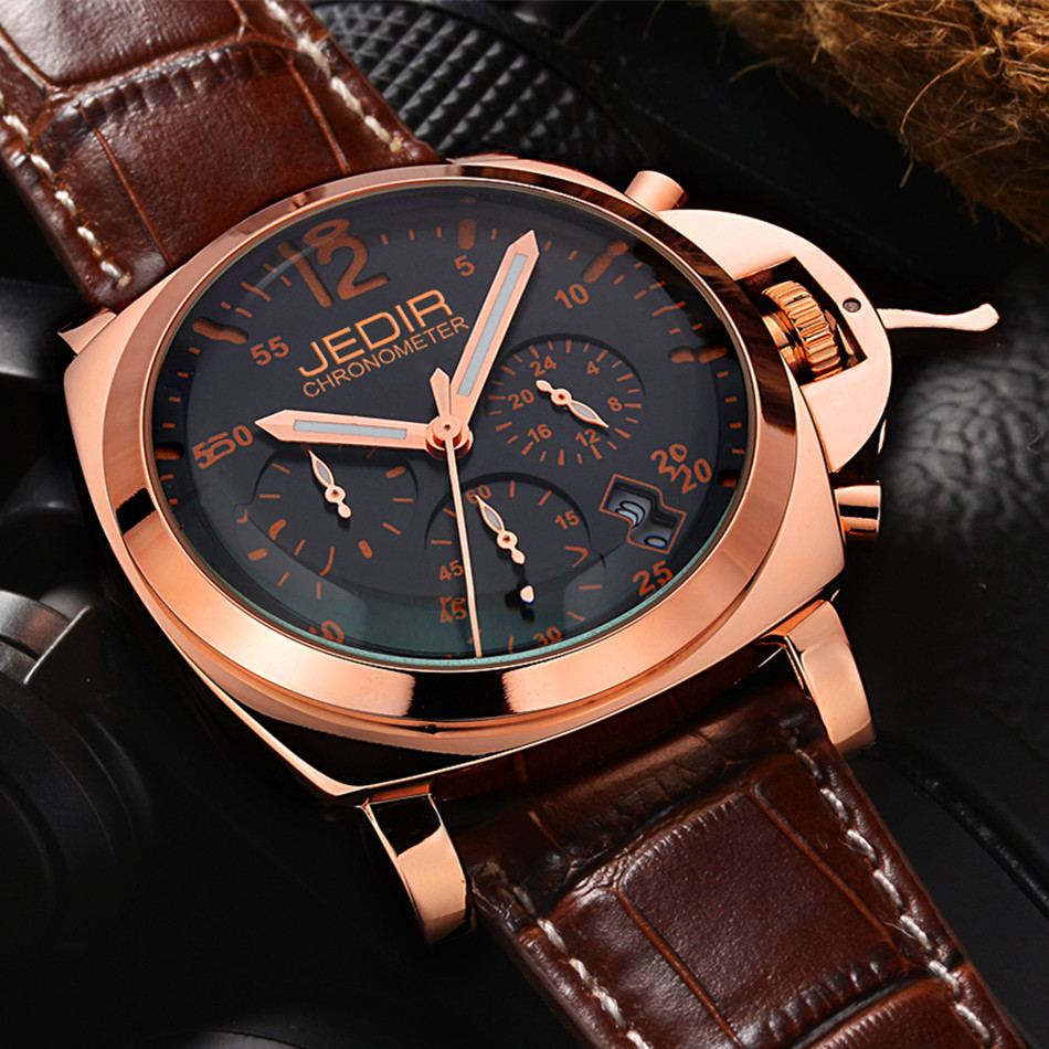 ФОТО 2016 Military Watches Men JEDIR Stainless Steel Chronograph Sports Watch Men's Multi Functional Luxury Waterproof Quartz Watch