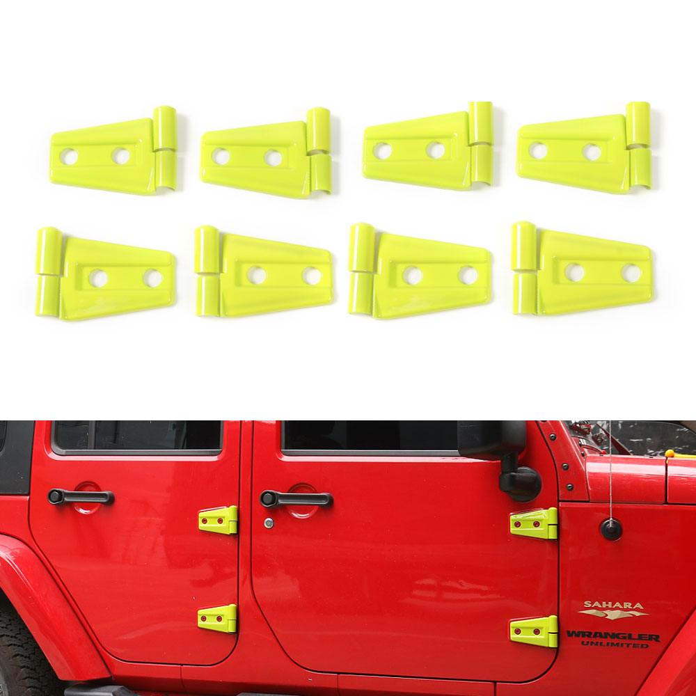 24pcs/set ABS Yellow / Green Hood Door Hinge Trim Decoration Frame Cover For Wrangler JK 4 Door 2007-2016 Car Styling 2 piece set locking hood look catch hood latches kit for jeep wrangler jk rubicon sahara unlimited 2007 2016