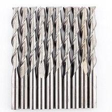 10 шт. 2 наконечник флейты мельница для специй 3,175 мм Диаметр твердый карбид cnc спираль Деревообработка фреза для контурной обработки