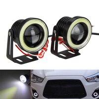 2x 2.5 inch 15W COB LED Motorcycle Headlight White Angle Eyes Light Fog Driving Lamp AUTO Waterproof