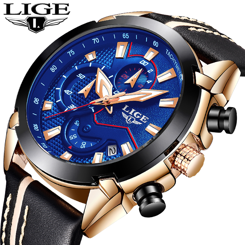 LIGE Watch Men Fashion Quartz Army Military Clock Mens Watches Top Brand Luxury Leather Waterproof Sport Watch Relogio Masculino mens watch top luxury brand fashion hollow clock male casual sport wristwatch men pirate skull style quartz watch reloj homber