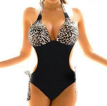 цены на Free shipping Sexy new leopard print brown one pieces padded  ladies swimwear SWIMSUIT size S M  L XL SU0003BR  в интернет-магазинах