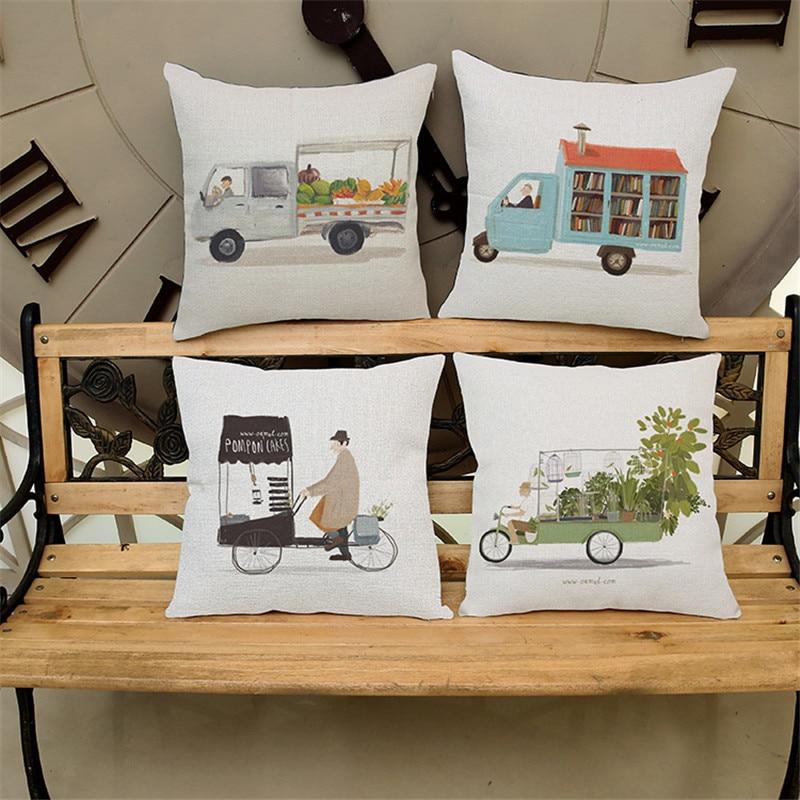 Cartoon car with book shop creative pattern PillowCase Cushion Cover chair office seat Home coffee shop Decoration children gift