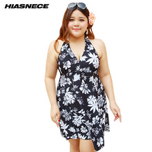 4XL-12XL One Plus size swimsuit skirt push up black floral printed deep v-neck halter large size swimwear beach dress for women