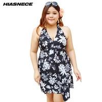 4XL 12XL One Plus Size Swimsuit Skirt Push Up Black Floral Printed Deep V Neck Halter