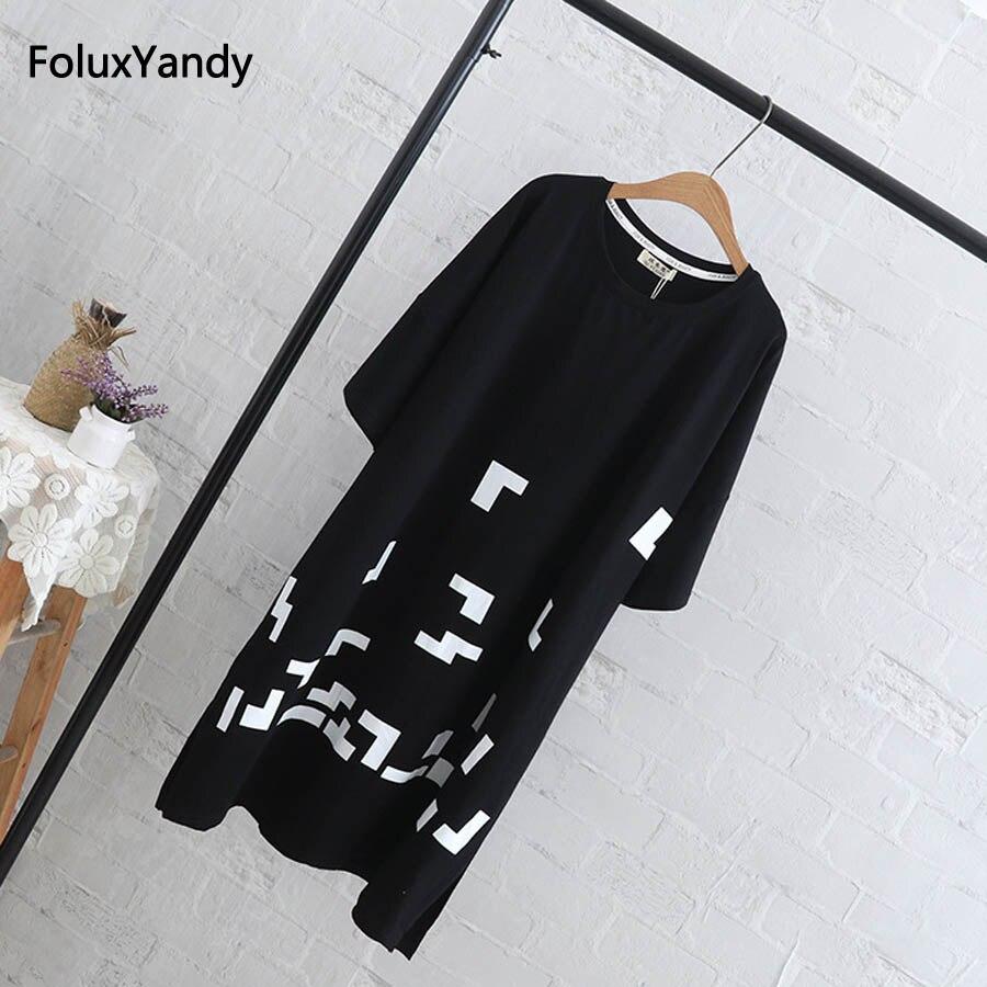 5 XL Plus Size Tops Tees Women Casual Short Sleeve Long Style T-shirt Black Yellow QYL207