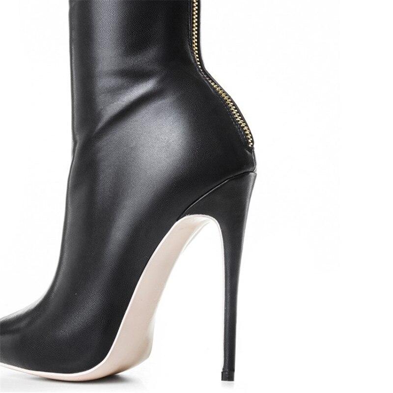 Suave De Del Zip Zapatos Botas Negro Mujeres Rodilla Tacones Picture Sobre As Las La Botines Punta Sexy Alta Cuero Stiletto Muslo Mujer wgpfpvSqx