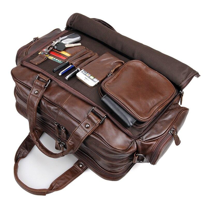 """Nesitu duży duży czekolady prawdziwej skóry mężczyzna teczki Portfolio mężczyzna torba na ramię torby 15.6 """"Laptop podróżna torba biznesowa M7150 w Teczki od Bagaże i torby na  Grupa 1"""