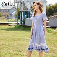 ARTKA 2018 Summer New Women Cotton Embroidery Lace Stitching Striped Flared Sleeves Loose Waist Big Swing Long Dress LA10586X