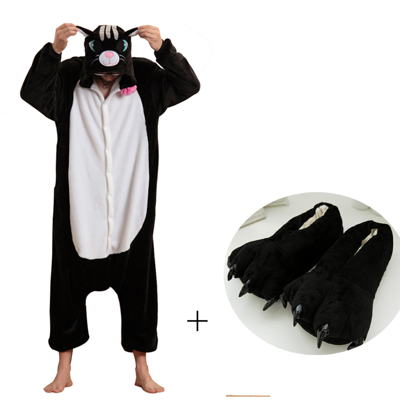 Cat Adult Onesies Animal Kigurumi Pajamas For Women Sleepwear Men Cosplay Onesie Animal Pyjamas One-Piece Halloween Costume