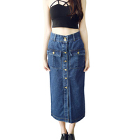 New Arrival Autumn Long Denim Skirts High Waisted Cotton Front Buttons Pockets Thick Jeans Cotton Pencil