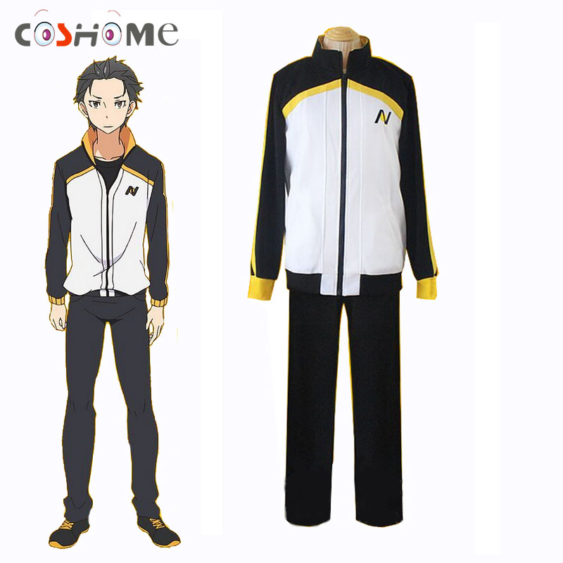 Coshome Re Zero Subaru Natsuki Jactet Cosplay Costumes Sportswear Anime T-shirt Men Tops Pants Wigs