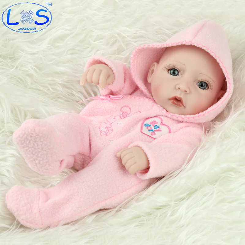 LONSUN Big Eyes Silicone Reborn Dolls Hobbies Stuffed Toys Accessories Dolls Bedtime Early Education Girl Toys Christmas Gift