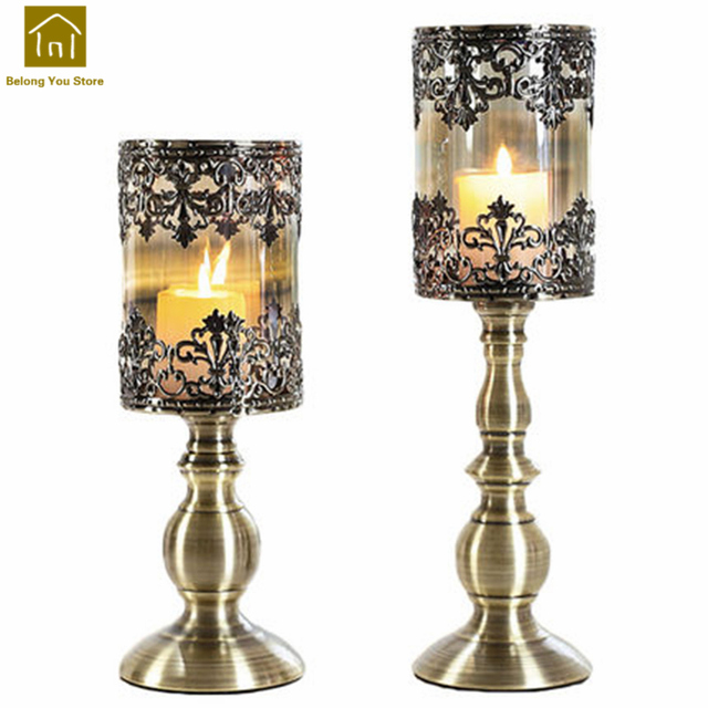 Bon Pillar Candle Holder Vintage Retro Wedding Decoration Iron Candle Stand Candlestick  Table Candelabra Bougeoir Home Decor
