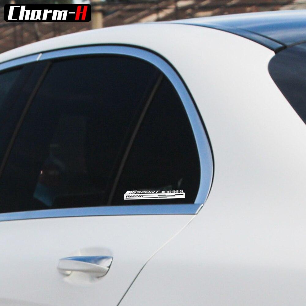 2 pcs Réfléchissant Racing Decal Côté Fenêtre Pare-Brise Graphique Autocollants pour Mercedes Benz W203 W204 W205 W212 W211 Un CLA GLA45 AMG