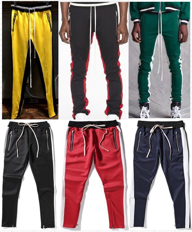 2018 nuova cerniera pantaloni hiphop nero di Modo icona jogger  abbigliamento urbano red bottoms jogger justin bieber pantaloni Nero rosso  blu in 2018 nuova ... 7950e0a6c280