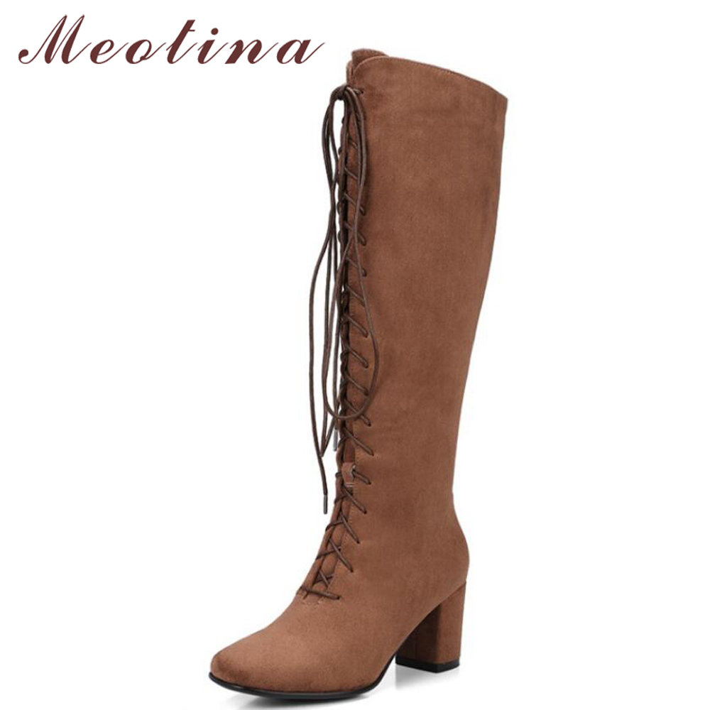 Meotina Knee High Boots Winter Women Boots Zipper Thick High Heel Boots Motorcycle Boots Lace Up Fashion Long Shoes Brown 34-39 meotina knee high boots winter platform high heel boots pointed toe fashion shoes crystal flower long boots zipper black 42 43