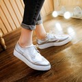 Vintage British street style lady oxford loafer student casual silver women lace up pointed toe thick sole shoes