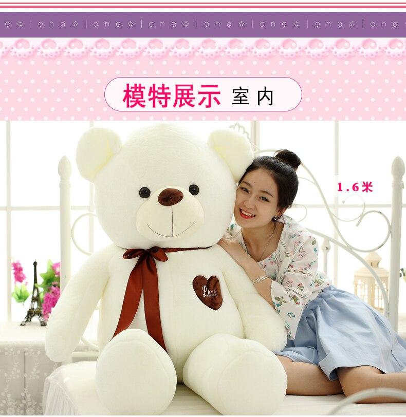 huge 160cm white teddy bear plush toy love heart bear doll soft hug pillow Valentine s