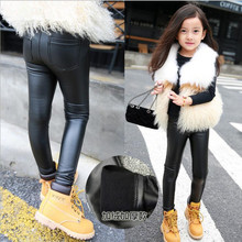 Legency Autumn Winter Girls Lacina Teenagers Leather Pant