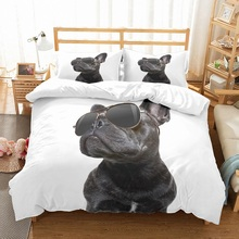 3D Printed Handsome Black Pug Dog with Sunglasses 3PCS(1 Duvet Cover 2 Pillowcase) Set Microfiber Kids Bedding