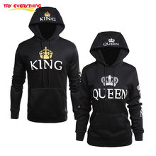 48acc72f1 Try Everything Matching Couple Sweatshirts Queen King Black Lover Couple  Hoodies For Women With A Hood Clothes Valentine's Day