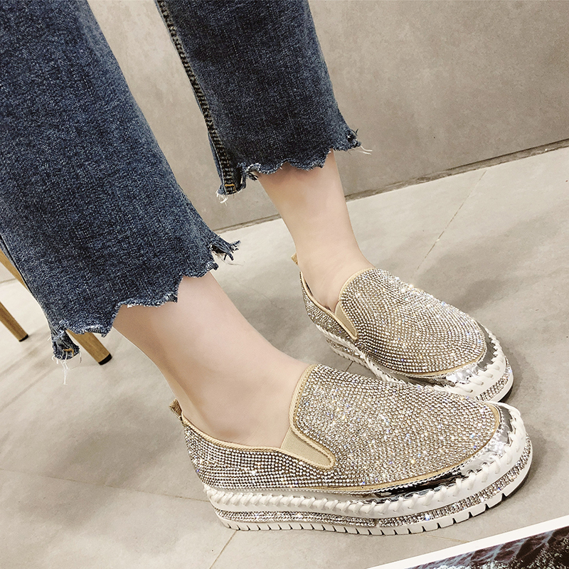 Rimocy loafers shoes women luxury silver crystal slip on platform casual shoes woman shinning bling solid black flat heels shoes(China)