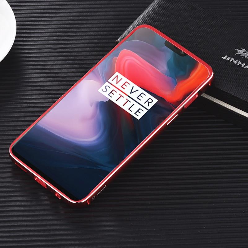 iMatch Luxury Aluminum Metal Bumper Carbon Fiber Back Cover Case for OnePlus 6