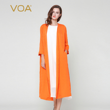 long cardigan for women plus size Summer orange thin section silk sweater female casual trench overcoat F3320