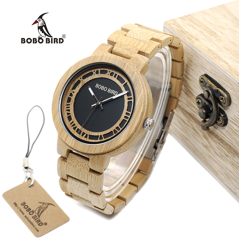BOBO BIRD WN19 Wooden Watch Roman Digital Face Top Brand Luxury Clock for Men Accept Logo