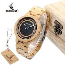 BOBO WN19 PÁJARO Reloj Romano Cara Digital De Madera Reloj de Lujo Superior de la Marca para Los Hombres Aceptan Logo Láser Personalizado Artículo Dropshipping