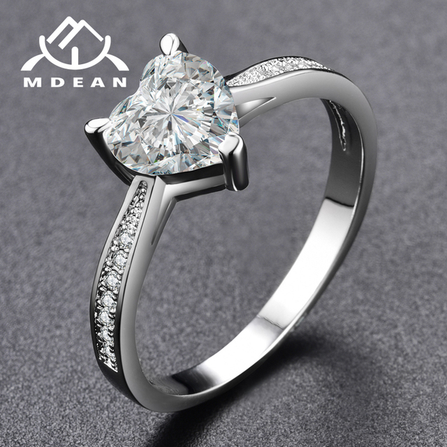 MDEAN White Gold Color Rings for Women Engagement Wedding pink AAA Zircon Jewelry Bague Bijoux Size 6 7 8 9 H568