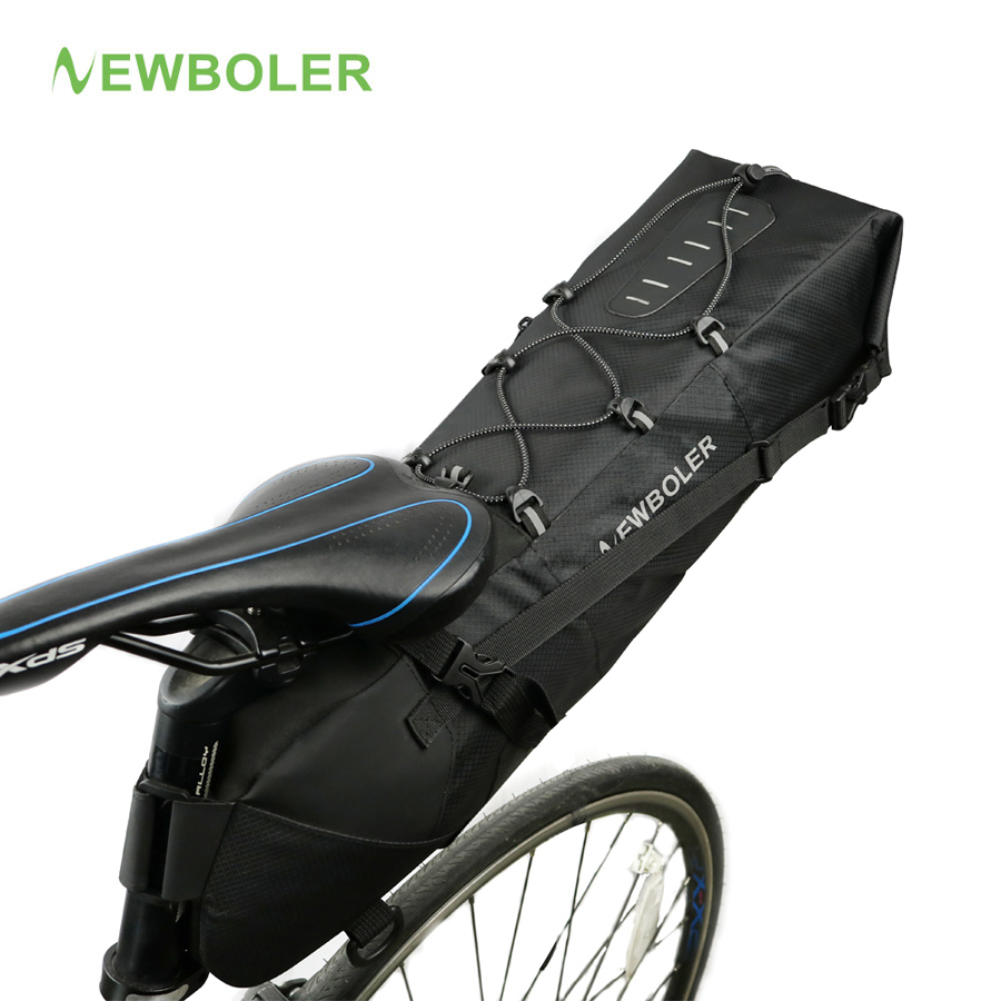 NEWBOLER Waterproof Bike Saddle Bag Large Bicycle Tail Seat Bags TPU + Polyester Cycling Rear Panniers Bike Accessories 12L Max roswheel mtb bike bag 10l full waterproof bicycle saddle bag mountain bike rear seat bag cycling tail bag bicycle accessories