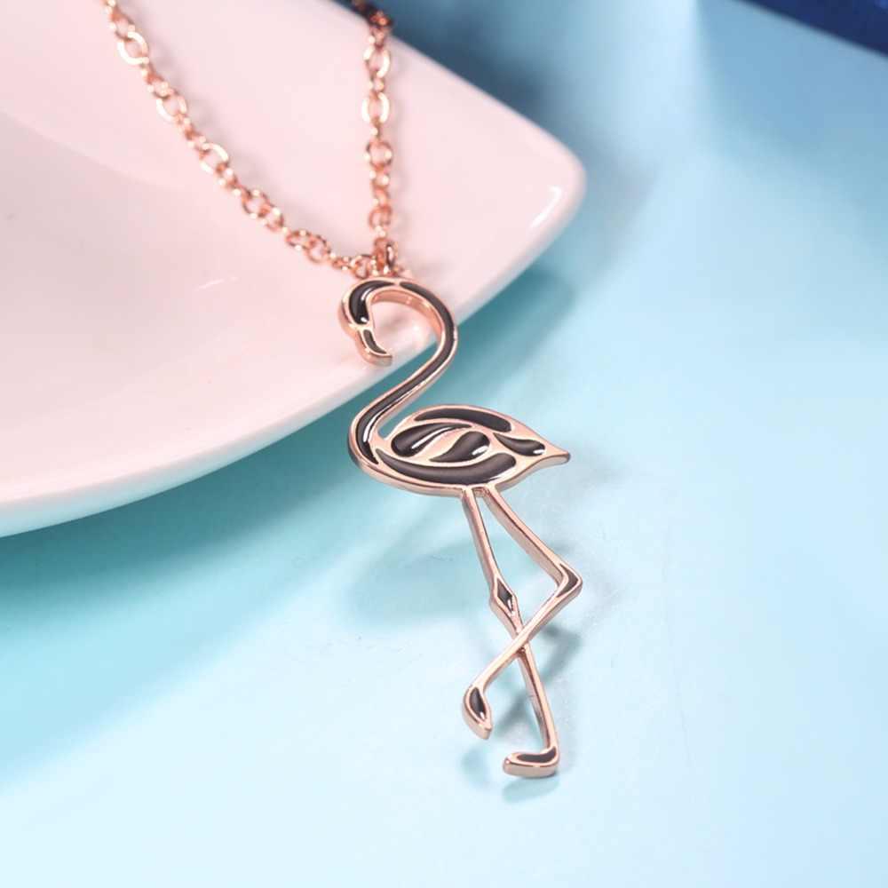 1cd707528f ... ERLUER joyería de moda nuevo collar de flamenco rosa negro para mujer  lindo pájaro Animal esmalte ...