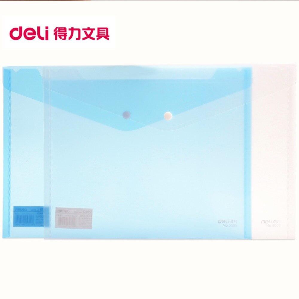 LifeMaster Deli Elastic Closure Folder A4 Size Document Bag 5pcs/lot Transparent PP Good Quality School And Office Supplies 5505