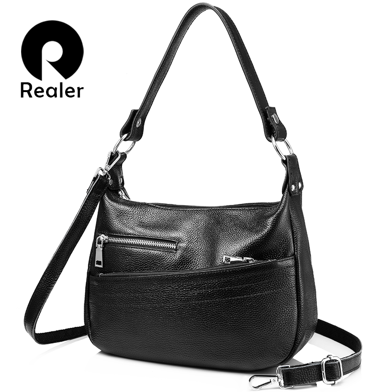 REALER Handbags Genuine Leather Bags For Women Shoulder Crossbody Bags Female High Quality Messenger Ladies Small Totes Student