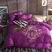 100% натуральный хлопок ткань Queen King Размеры Роскошные Фиолетовый Вышивка Постельное белье пододеяльник постельное белье лист наволочки 4 шт.