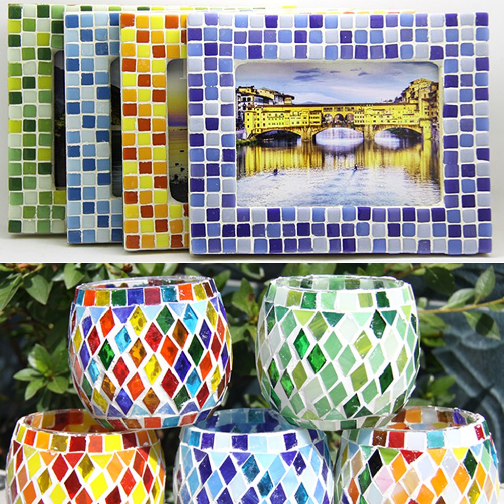 300g/lot Assorted Color Square Clear Glass Mosaic Tiles 10x10mm DIY Mosaic Art Crafts Wall Handmade Material Mosaic Mirror Tile