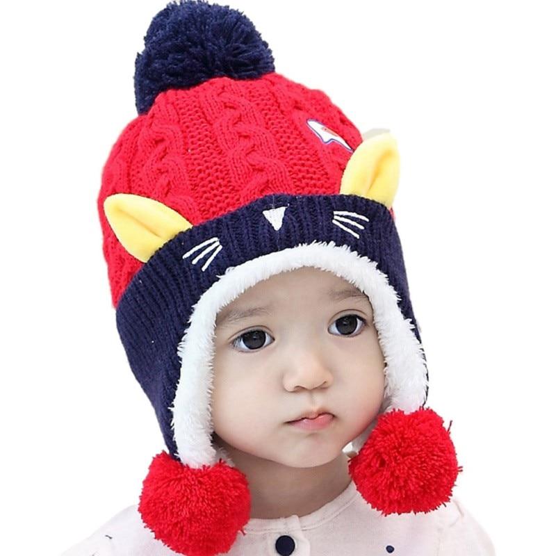 Warm Infant Baby Beanie Cap Children Boys Girls Animal Cat Ear Kids Crochet Knitted Hat Cute Baby Winter Hat