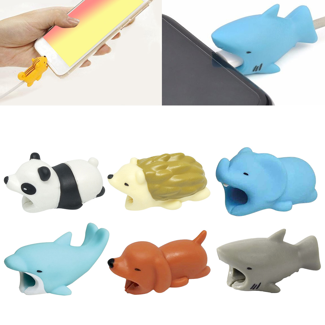 Cartoon Animal Style Winder Mobile Phone Cable Protective Sleeve USB Charging Cable Wired Earphone Cable Protector