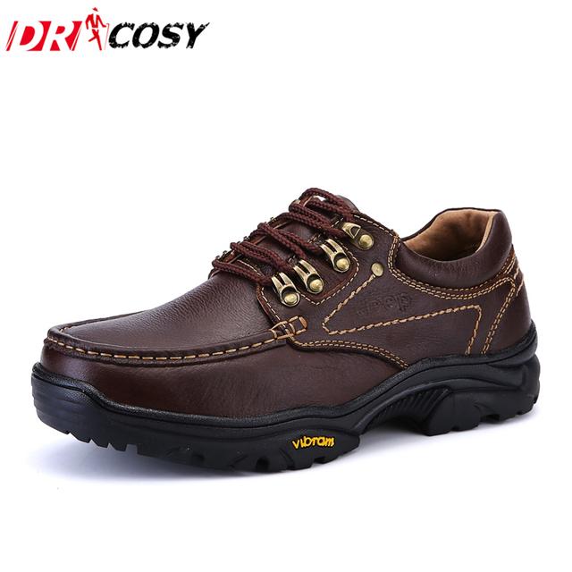 Sapatos de Couro Genuíno dos homens Novos Outono Inverno Ourdoor Casuais À Prova D' Água Sapatos de Trabalho Dos Homens Sapatos Oxfords Lace-Up Sapatos