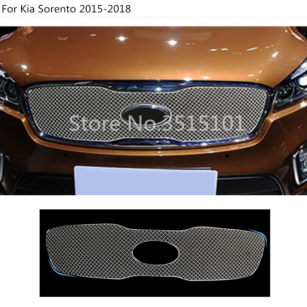 Car styling body cover protection Metal trim racing Front up Grid Grill Grille molding 1pcs For Kia Sorento 2015 2016 2017 Гриль